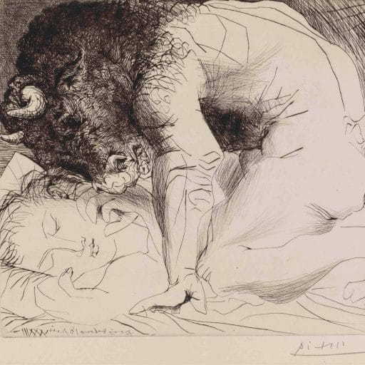 Minotaur crouching over sleeping woman; plate 93 of the Vollard Suite (VS 93). 18 June 1933, plate reworked probably at the end of 1934. Drypoint. Pablo Picasso (1881 - 1973). Copyright of Succession Picasso/DACS 2011